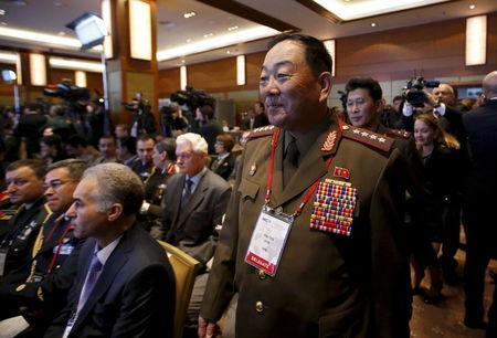 Senior North Korean military officer Hyon Yong Chol (R, front) attends the 4th Moscow Conference on International Security (MCIS) in Moscow in this April 16, 2015 file photo. REUTERS/Sergei Karpukhin
