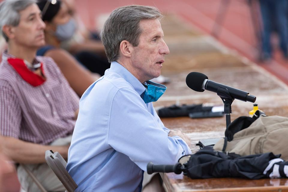 Wauwatosa Mayor Dennis McBride speaks at a special meeting of the Wauwatosa Common Council Tuesday, July 21, 2020, at Hart Park Stadium in Wauwatosa. The meeting addressed race, equity and police issues following weeks of protests throughout the city.