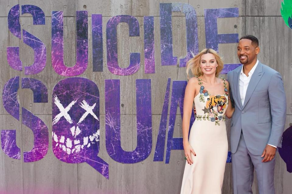"""Margot Robbie and Will Smith attend the European Premiere of """"Suicide Squad"""" at Odeon Leicester Square.  (Photo by Jeff Spicer/Getty Images)"""