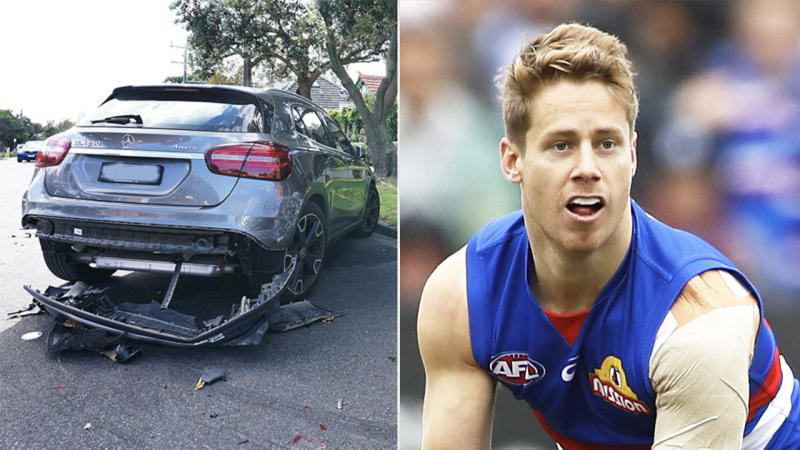 Lachie Hunter (pictured right) playing AFL and a picture of an alleged drink-driving incident.