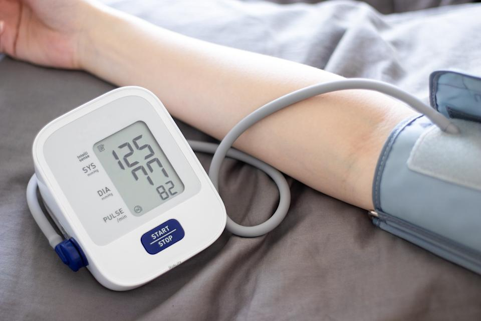 Measuring blood pressure at home with portable device, health check