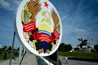 Coat of arms: The pro-Russian region of Transnistria broke away from Moldova during a civil war after the collapse of the Soviet Union (AFP/Sergei GAPON)