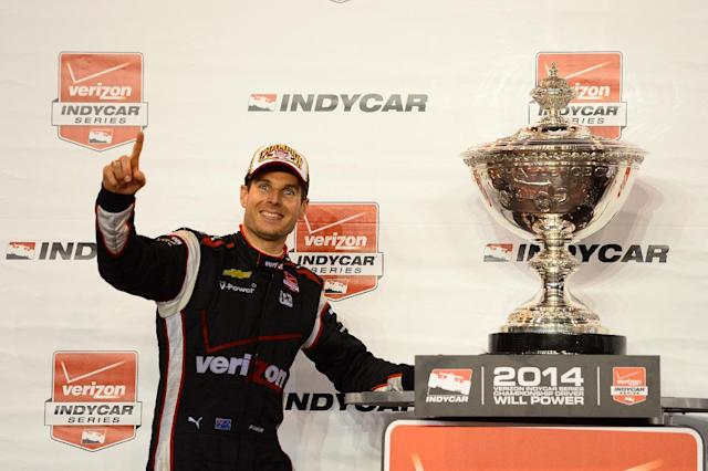 Australia's Will Power celebrates after winning the IndyCar Championship on August 30, 2014 in Fontana, California (AFP Photo/Robert Laberge)