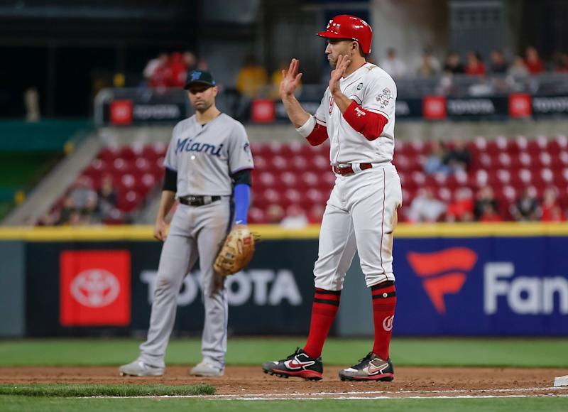 Just days after the Reds brawled against the Pirates, Votto took the high road after getting beaned. (Photo by Michael Hickey/Getty Images)