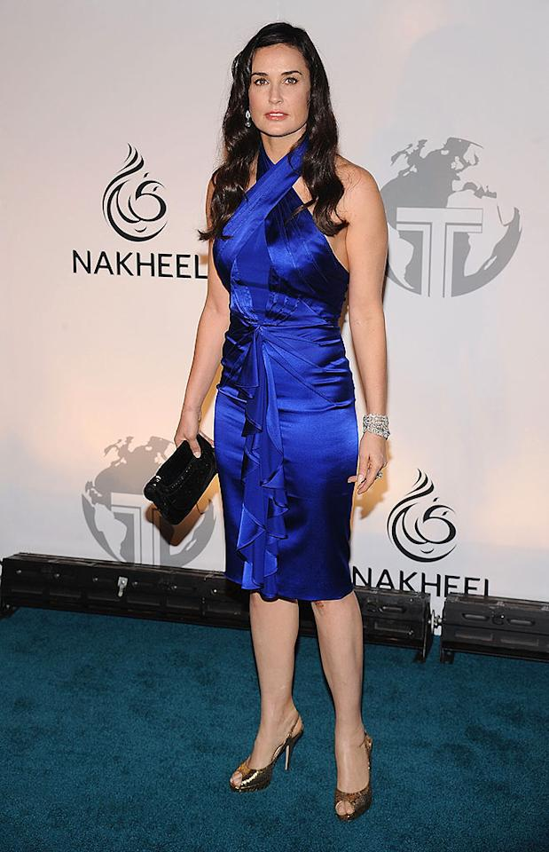 """Demi Moore is wrapped so tightly in her bright blue dress that she looks as if she can barely breathe. Dimitrios Kambouris/<a href=""""http://www.wireimage.com"""" target=""""new"""">WireImage.com</a> - June 23, 2008"""