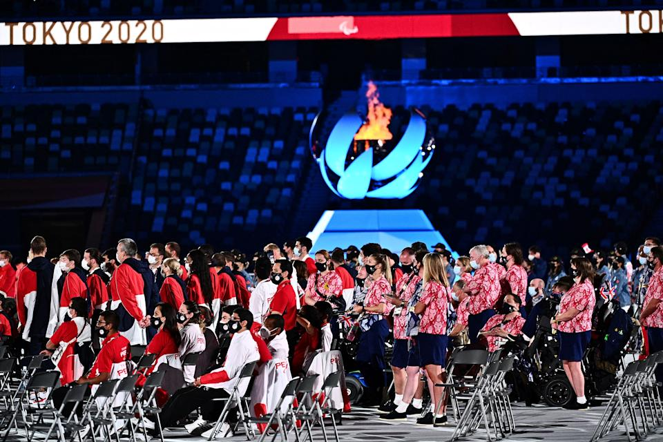 Athletes gather on the pitch during the closing ceremony for the Tokyo 2020 Paralympic Games at the Olympic Stadium in Tokyo on September 5, 2021. (Photo by Philip FONG / AFP) (Photo by PHILIP FONG/AFP via Getty Images)