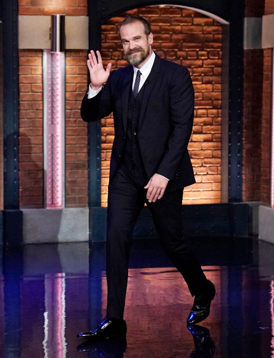 <p>David Harbour looks sharp as he arrives on <i>Late Night With Seth Meyers</i> on June 10 in N.Y.C. </p>