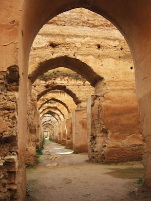 the ruins of the gigantic late 17th-century royal stables in Meknes
