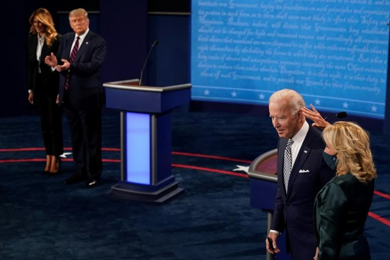 Melania Trump joined her husband on the debate stage without a mask -- she too is now positive for the coronavirus; Jill Biden did wear a face mask on stage