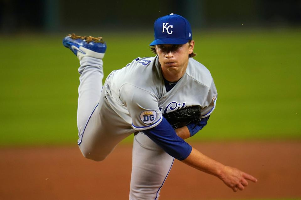 Kansas City Royals pitcher Brady Singer throws against the Detroit Tigers in the fifth inning in Detroit, Wednesday, Sept. 16, 2020.