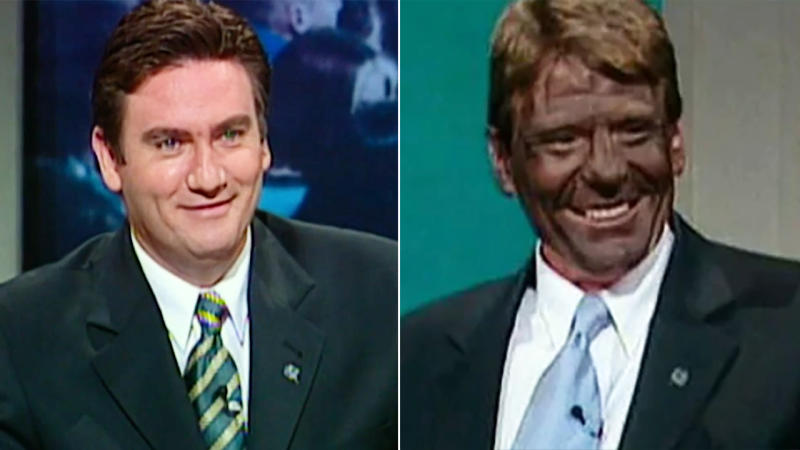 Sam Newman, pictured here in blackface on the AFL Footy Show with Eddie McGuire in 1999.