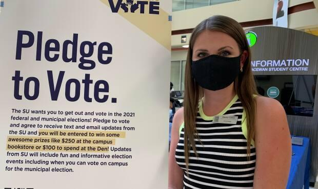 University of Calgary Students' Union vice-president Marley Gillies is trying to make sure students have the information they need to vote. (Elise Stolte/CBC - image credit)