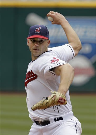 Cleveland Indians starting pitcher Justin Masterson throws against the Chicago White Sox in the second inning of a baseball game in Cleveland on Wednesday, April 11, 2012. (AP Photo/Amy Sancetta)
