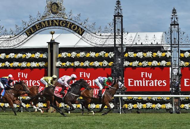 Jockey Michelle Payne of Australia on Prince of Penzance leads French horse Max Dynamite (No 8) and New Zealand horse Criterion (No 2) past the post during the Melbourne Cup, at Flemington Racecourse, in 2015 (AFP Photo/PAUL CROCK)