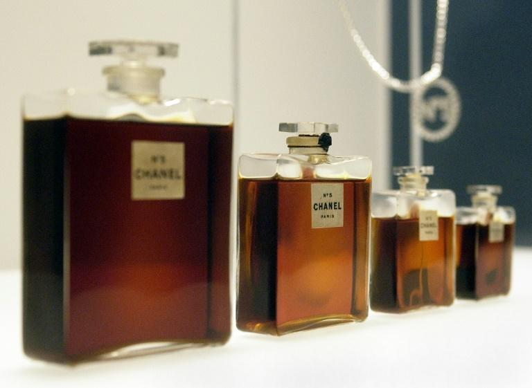 Bottles of Chanel No. 5 perfume from 1921 are seen at a press preview of an exhibition of the history of the fashion House of Chanel in 2005