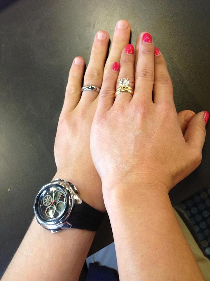 "Danielle Fishel (Topanga) <a href=""https://twitter.com/daniellefishel/status/314857459149860866/photo/1"">tweeted this shot</a> of her and Ben Savage's (Cory) hands, complete with wedding rings. ""Girl Meets World"" picks back up in Topanga and Cory's lives 13 years after ""<a href=""http://tv.yahoo.com/shows/boy-meets-world/"">Boy Meets World</a>"" ended; they got married during the series' final season. Now they have a daughter, Riley (the titular character, played by Rowan Blachard) and a son, Elliot (Teo Halm). In the spinoff, these two happily married lovebirds will be helping their daughter navigate the challenges of growing up.<br /><br />In real life, Savage and Fishel's relationship wasn't quite as romantic. In a 2012 <a href=""http://90sgirlproblem.com/post/25090562914/q-a-ben-savage-aka-cory-matthews"">interview</a>, Savage addressed his lack of off-screen chemistry with Fishel: ""We were very, very good friends but when you grow up with someone since the time you're 11 years old, and you see each other go through some pretty awkward years, by the time you both hit 20, you don't really want to date or anything."" More recently, Fishel <a href=""http://www.latimes.com/entertainment/gossip/la-et-mg-danielle-fishel-bob-saget-maxim-boy-meets-world-20130308,0,5362519.story"">commented on the rumors</a> that she and Savage have a real-life romance: ""That rumor was entirely my fault because I once said, on 'The Tyra Banks Show,' that Ben and I went on a date, and that turned into 'Danielle and Ben dated.' We went on one date, when I was about 15, and by the time the dinner was over, we realized mutually that we were more like family than lovers.""<br /><br />Savage has been tight-lipped about his real-life relationships. Fishel has been linked to Matthew Lawrence (who played Jack, the half-brother of Rider Strong's Shawn Hunter, on ""BMW""), Lance Bass, and Devon Sawa. She's now engaged to Tim Belusko."