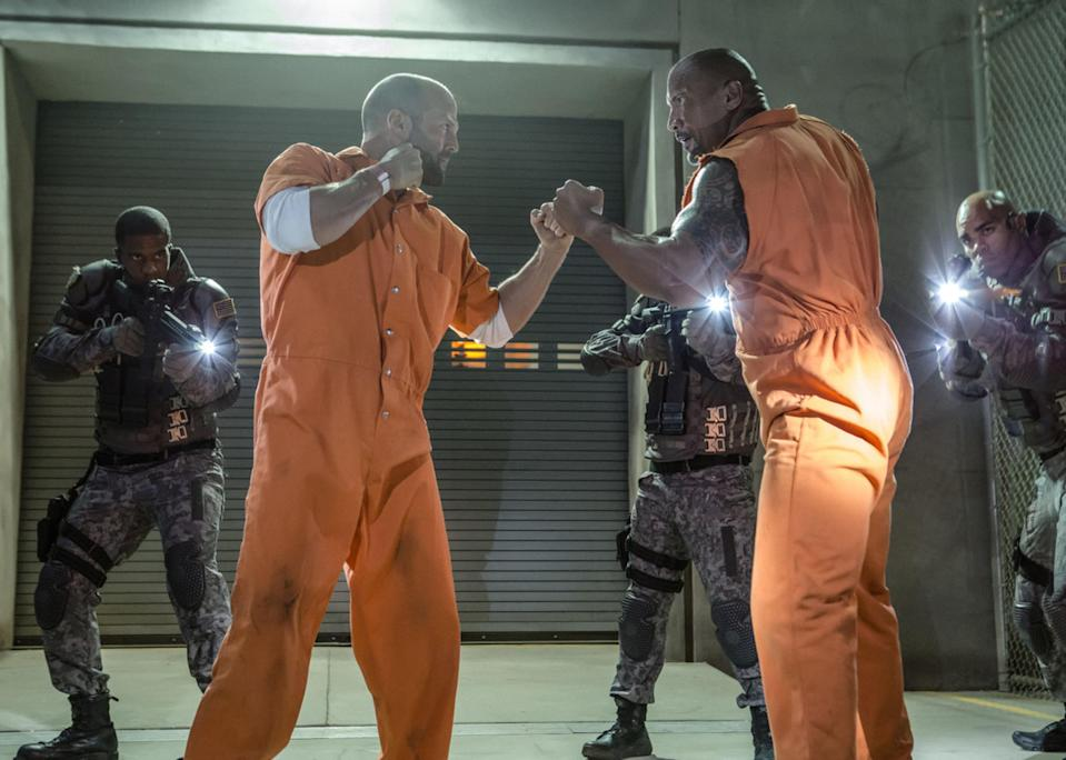 Dwayne Johnson's Luke Hobbs and Jason Statham's Deckard Shaw are the best of friends in 'Fast &<br> Furious 8' (credit: Universal)