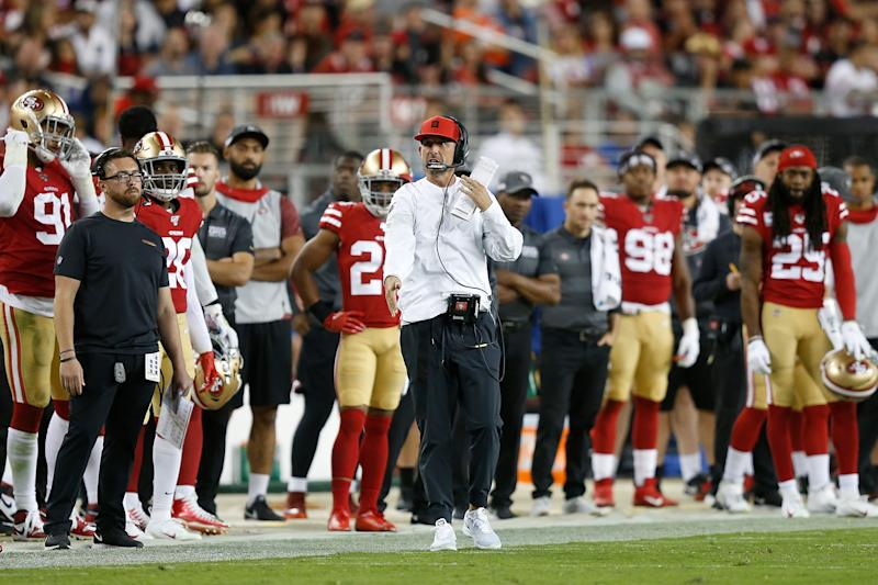 SANTA CLARA, CALIFORNIA - OCTOBER 07: Head coach Kyle Shanahan of the San Francisco 49ers looks on from the sideline in the second half against the Cleveland Browns at Levi's Stadium on October 07, 2019 in Santa Clara, California. (Photo by Lachlan Cunningham/Getty Images)
