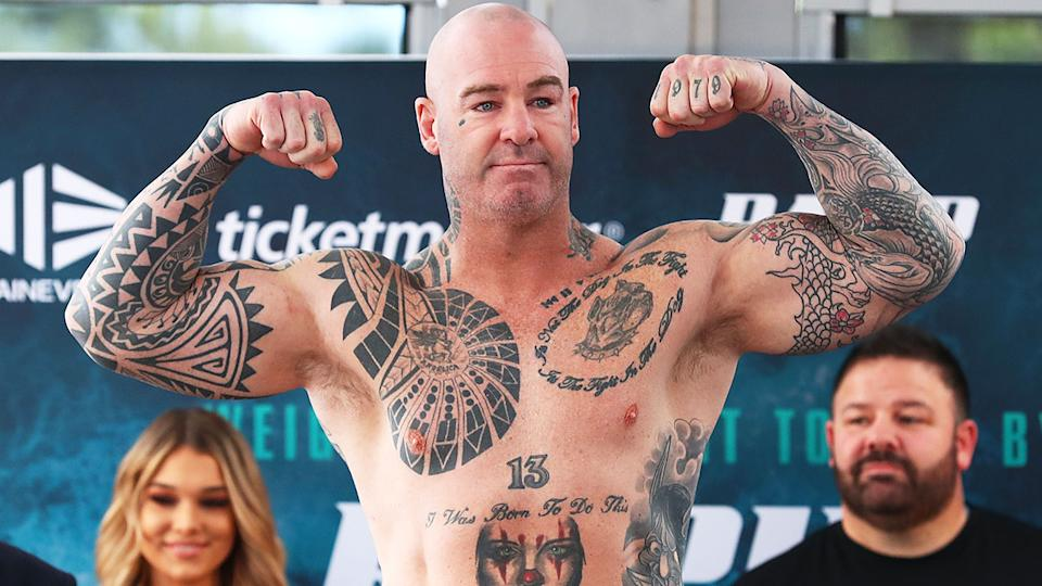 Seen here, Lucas Browne flexes his muscles ahead of the fight against Paul Gallen.