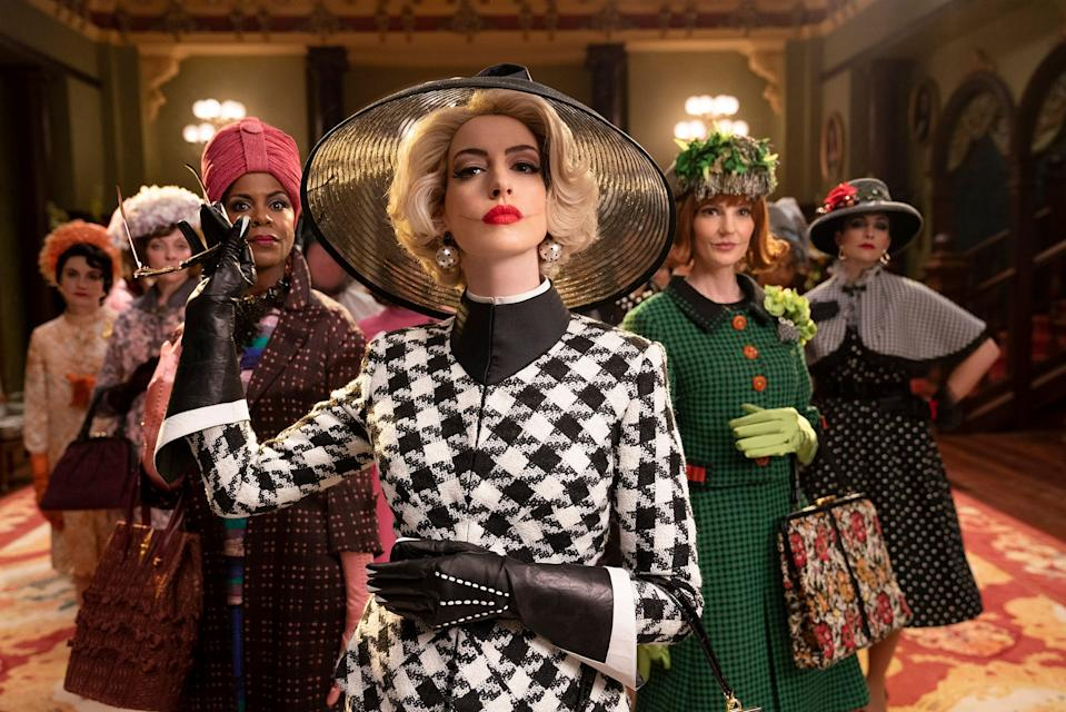 """Anne Hathaway (center) vamps as the leader of a wicked coven in """"The Witches."""""""