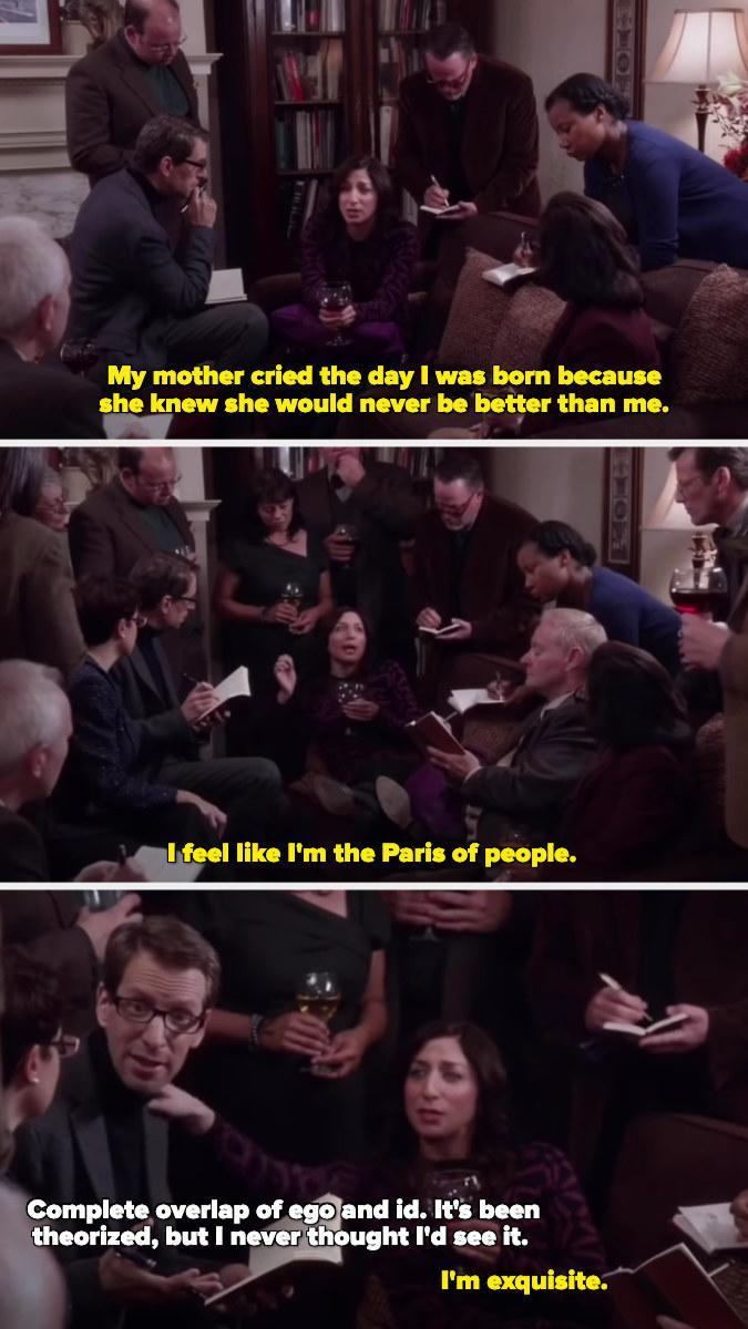 Gina saying her mom cried when she was born because she would never be better than Gina, Gina calling herself the Paris of people, and a psychologist being amazed by her ego and id.