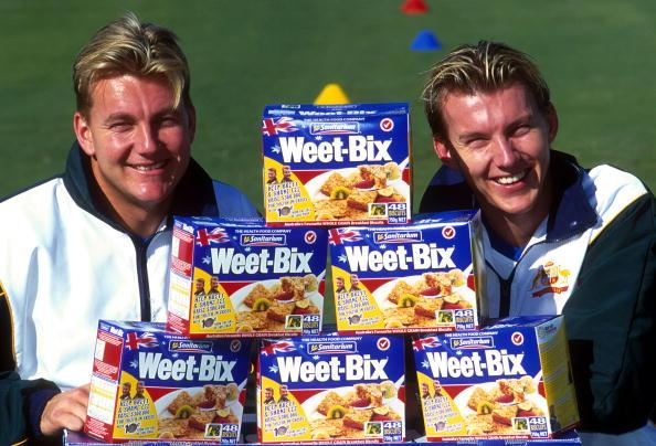 10 Aug 2000:  Shane Lee and Brett Lee of Australia at the announcement of the Weet-Bix sponsorship of the Australian Cricket team held at Allan Border Field in Brisbane, Australia. Mandatory Credit: Darren England/ALLSPORT