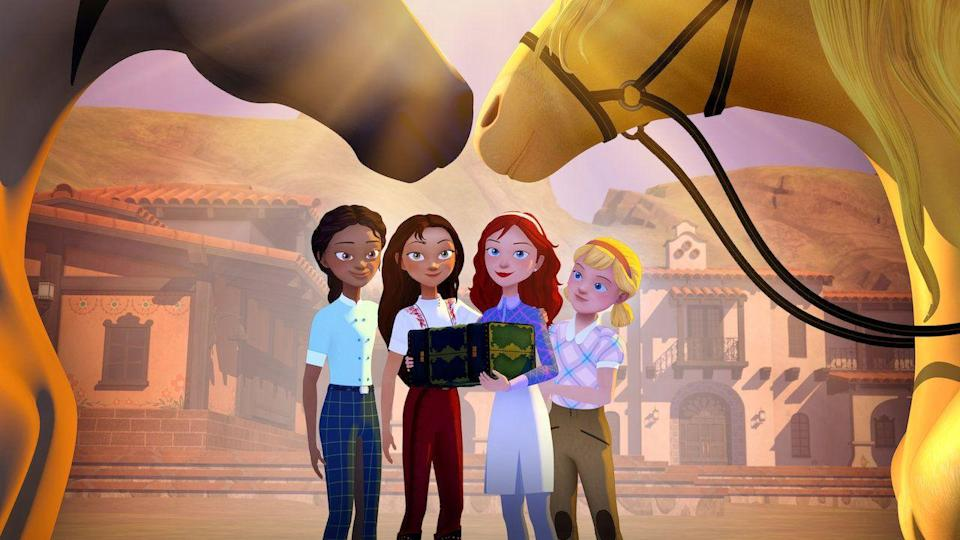 "<p>The Oscar-nominated film <em>Spirit: Stallion of the Cimarron </em>inspired a number of Netflix series; the most recent is <em>Spirit Riding Free: Riding Academy</em>, following the characters as they leave their hometown and attend the tony Palomino Bluffs riding school.</p><p><a class=""link rapid-noclick-resp"" href=""https://www.netflix.com/title/81054417"" rel=""nofollow noopener"" target=""_blank"" data-ylk=""slk:WATCH NOW"">WATCH NOW</a></p>"