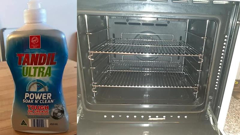 A photo of Aldi dishwashing liquid and a clean oven.