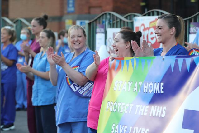 Medical staff outside the Mater Hospital in Belfast join in the applause during last week's Clap for Carers. (PA via Getty Images)