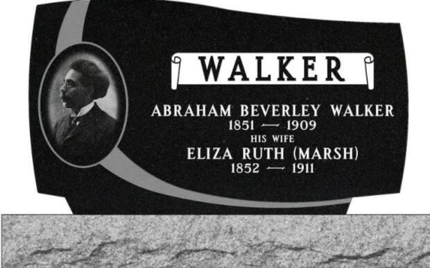 The proposed front of the headstone for Walker's grave. It is planned to be placed in the Church of England Cemetery in Saint John on the week of May 24.