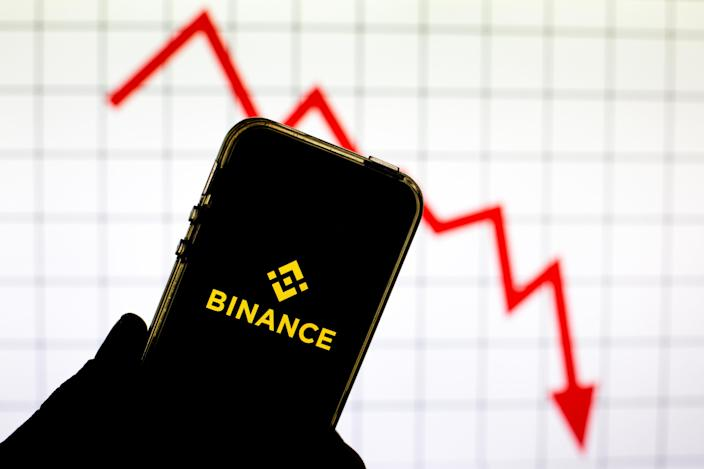 The Binance cryptocurrency logo is seen on a smartphone screen