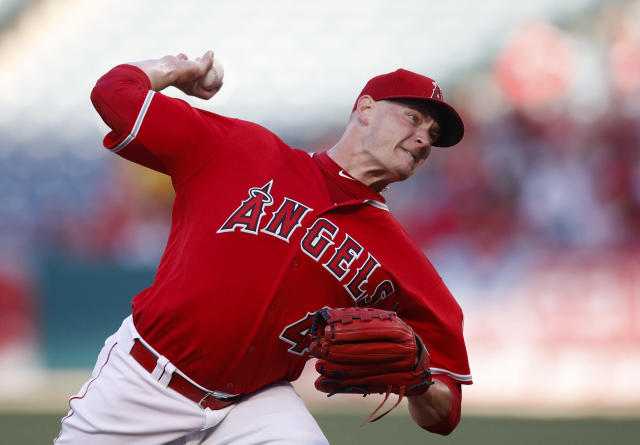 Los Angeles Angels starting pitcher Garrett Richards throws to a Houston Astros batter during the first inning of a baseball game Wednesday, May 16, 2018, in Anaheim, Calif. (AP Photo/Jae C. Hong)