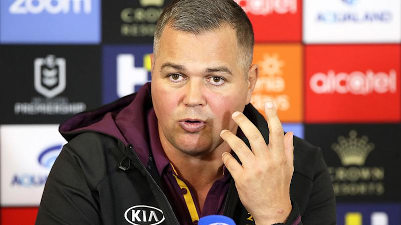 Pictured here, Brisbane Broncos coach Anthony Seibold at an NRL press conference.