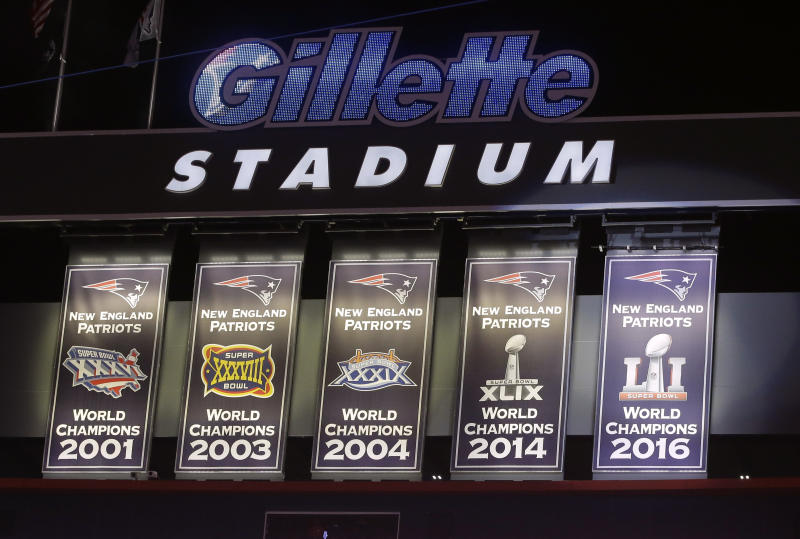 The Patriots' spoils of victory were on display, joined by its newest banner. (AP)
