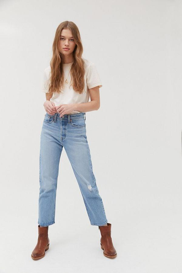 """<p>You're going to live in these classic <a href=""""https://www.popsugar.com/buy/Levi-Wedgie-Straight-Jeans-555064?p_name=Levi%27s%20Wedgie%20Straight%20Jeans&retailer=urbanoutfitters.com&pid=555064&price=98&evar1=fab%3Aus&evar9=47291856&evar98=https%3A%2F%2Fwww.popsugar.com%2Ffashion%2Fphoto-gallery%2F47291856%2Fimage%2F47291860%2FLevi-Wedgie-Straight-Jean&list1=shopping%2Cdenim%2Curban%20outfitters%2Cpants&prop13=api&pdata=1"""" rel=""""nofollow"""" data-shoppable-link=""""1"""" target=""""_blank"""" class=""""ga-track"""" data-ga-category=""""Related"""" data-ga-label=""""https://www.urbanoutfitters.com/shop/levis-wedgie-straight-jean-tango-blue?category=womens-denim&amp;color=106"""" data-ga-action=""""In-Line Links"""">Levi's Wedgie Straight Jeans</a> ($98).</p>"""