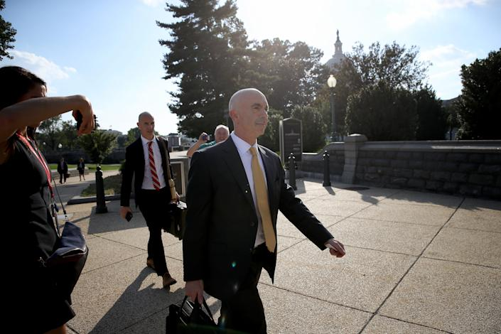 State Department Inspector General Steve Linick departs the U.S. Capitol. Linick reportedly met with congressional officials to brief them on information related to the impeachment inquiry centered around President Donald Trump