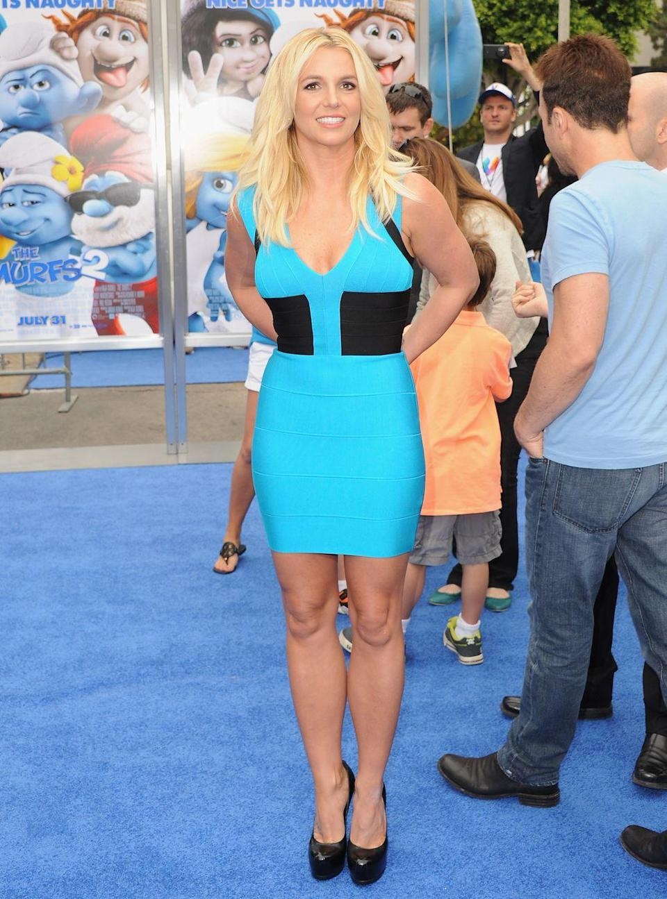 <p>Britney Spears attends the Los Angeles Premiere of Smurfs 2 on July 28, 2013.</p>