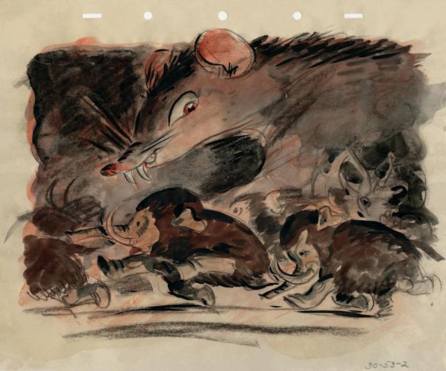 <p>For his book, Ghez wound up selecting seven of the images, which show the elephants peacefully snacking away on jungle fruits before being ambushed by a pack of monstrous mice.<br>(Credit: James Bodrero/Disney/Chronicle Books) </p>