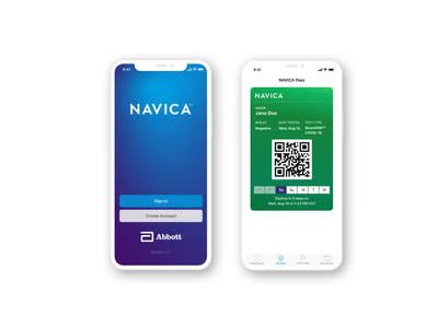 NAVICA™ is a no-charge complementary phone app, which allows people to display their BinaxNOW test results.