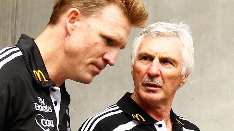 Nathan Buckley and Mick Malthouse, pictured here at Collingwood in 2011.