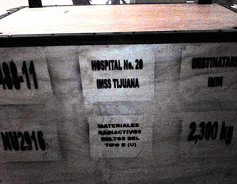 This image released by the National Commission on Nuclear Safety and Safeguards of Mexico's Energy Secretary (CNSNS) Wednesday, Dec. 4, 2013, shows a large box that is part of the cargo of a stolen truck hauling medical equipment with extremely dangerous radioactive material, in Tepojaco, Hidalgo state, north of Mexico City. The cargo truck was stolen from a gas station in central Mexico, and authorities have put out an alert in six central states and the capital to find it, Mexican and U.N. nuclear officials said Wednesday. (AP Photo/CNSNS)