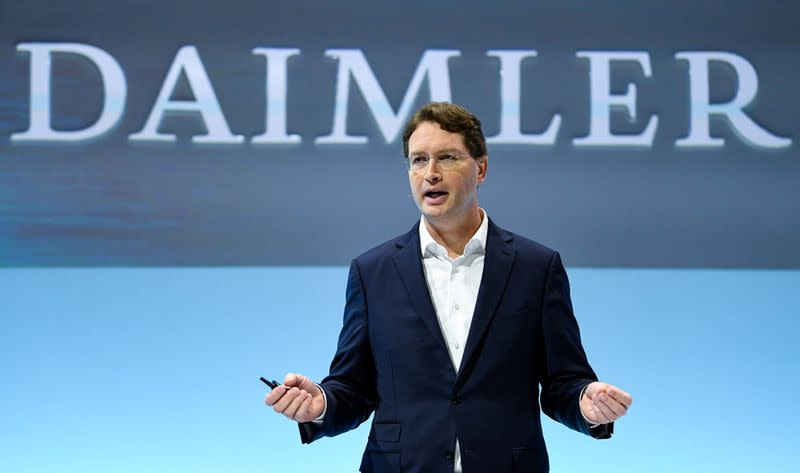 FILE PHOTO: Daimler Chief Executive Ola Kaellenius speaks at the German carmaker's annual results news conference