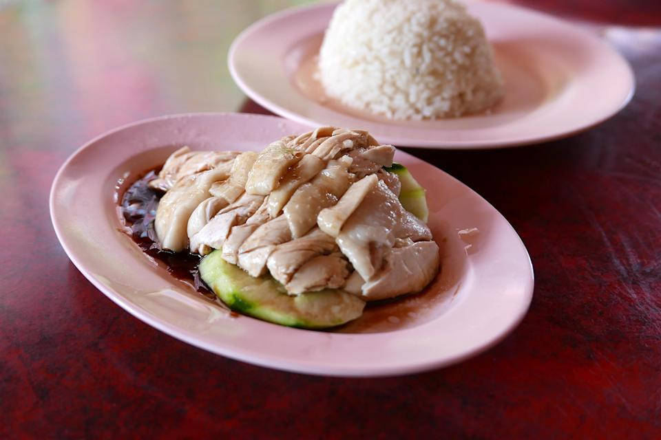 Close-Up Of Hainanese Chicken Rice On Table