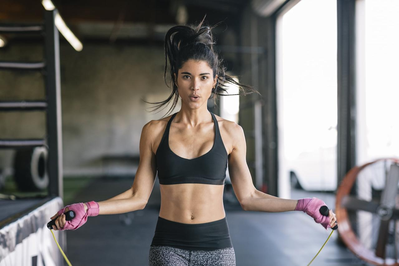 """<p>As I stated earlier, ask any trainer and you'll quickly realize that the strength training to cardio ratio will vary from person to person. Dr. Harrison typically recommends one day of cardio for people who are lifting six times a week, whereas I like to typically start clients off with just three workout sessions a week. With that split, two days would be strength training and one day would be cardio. Other weekly formats I suggest are three days of strength and two days of cardio or four days of strength, one day of cardio, and one day of active recovery (like yoga or walking). Some examples of cardio I recommend to my clients are jumping rope, doing a 20- to 30-minute run, cycling, and <a rel=""""nofollow"""" href=""""https://www.popsugar.com/fitness/Swimming-Workout-Women-Intervals-29455593"""">swimming</a>.</p> <p>Cardio is a great way to mix up your strength workouts without taking a day off (<a rel=""""nofollow"""" href=""""https://www.popsugar.com/fitness/How-Many-Rest-Days-Do-I-Need-44117781"""">rest is important, though</a>!), and it can also help you burn fat when done in a fasted state. This happens around eight to 12 hours after your last meal. """"Benefits of fasted cardio include increased breakdown of fat cells for energy and use of energy from fat cells instead of carbohydrates from a meal or from glycogen (the body's most usable storage form of carbohydrates),"""" Perri Halpern, MS, RD, a clinical dietitian at <a rel=""""nofollow"""" href=""""https://www.mountsinai.org/locations/mount-sinai/care/nutrition/team"""">The Mount Sinai Hospital</a>, told POPSUGAR <a rel=""""nofollow"""" href=""""https://www.popsugar.com/fitness/Does-Fasted-Cardio-Burn-Fat-45698883"""">in a previous interview</a>.</p>"""