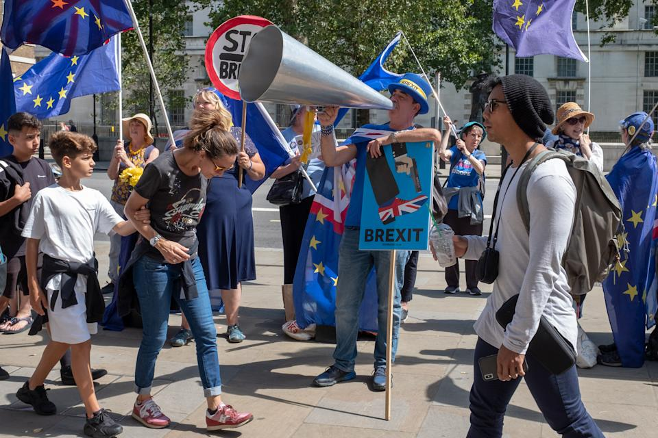 Anti-Brexit campaigner Steve Bray protests outside the Cabinet Office in London, England on 8 August 2019. (Photo by Robin Pope/NurPhoto via Getty Images)