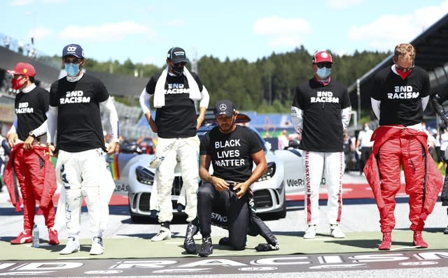 Hamilton was one of 14 drivers to take a knee
