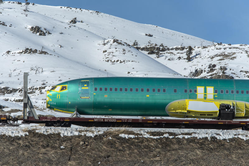 BOZEMAN, MT - MARCH 12: Boeing 737 Max 8 fuselages manufactured by Spirit Aerosystems in Wichita, Kansas are transported on a BSNF train heading west over the Bozeman Pass March 12, 2019 in Bozeman, Montana. The fuselages were en route to the Boeing assembly plant in Renton, Washington. (Photo by William Campbell-Corbis via Getty Images)