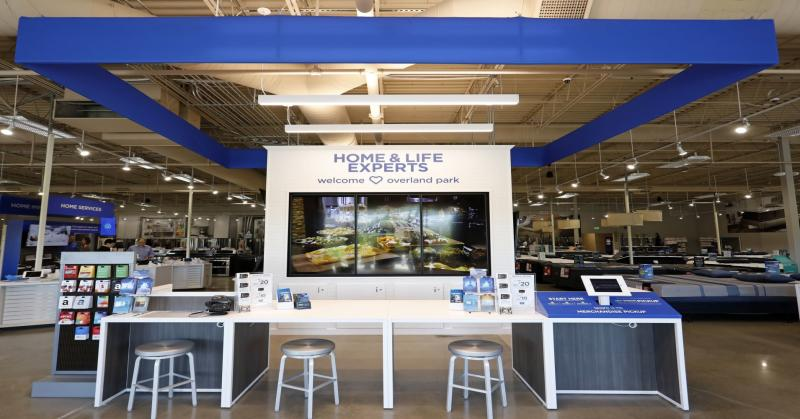 "The ""Welcome"" Service Desk at the Sears Home & Life store where customers can meet with experts and explore how new appliances would look in a full-scale kitchen."