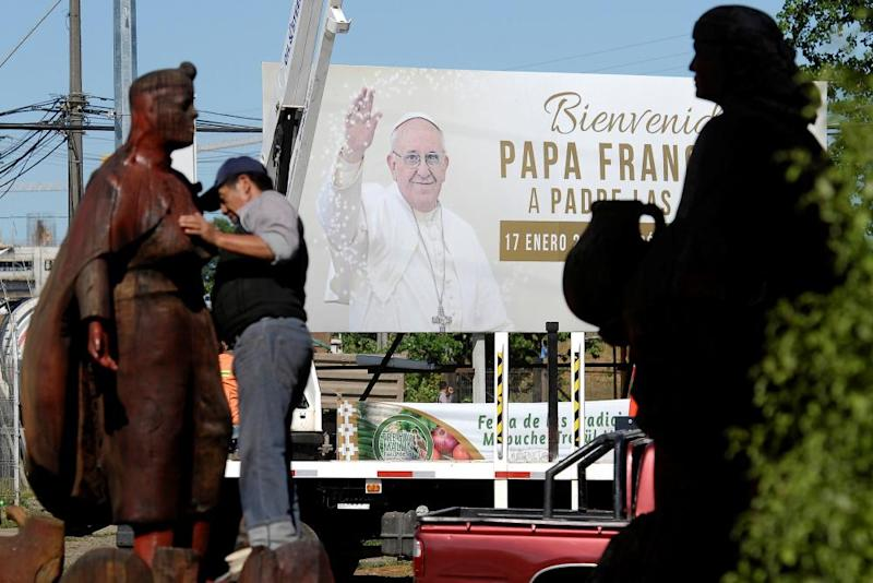 A banner reading 'Welcome Pope Francis' ahead of the papal visit, in Temuco, Chile, on 10 January.