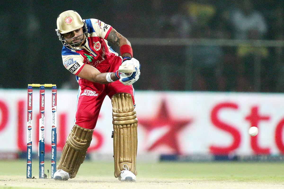 Royal Challengers Bangalore captain Virat Kohli plays a delivery through the leg side during match 57 of the Pepsi Indian Premier League between Delhi Daredevils and the Royal Challengers Bangalore held at the Feroz Shah Kotla Stadium, Delhi on the 10th May 2013. (BCCI)